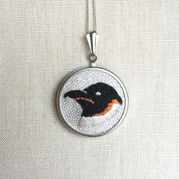Embroidered Bird Necklace Penguin Embroidery Pendant or Brooch