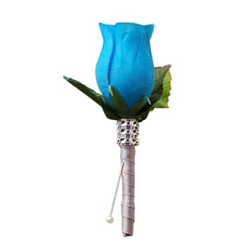 Rose Boutonniere: Deep Blue Turquoise Rose Bud with Grey Ribbon