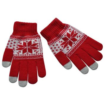 Full Finger Magic Touch Screen Gloves Smartphone Texting Stretch Winter Knit Mittens Wrist Gloves