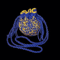 Drawstring Boho Crochet Pouch Change Purse Bag Blue and Gold