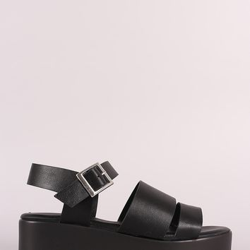 Bamboo Leather Open Toe Strappy Flatform Sandal