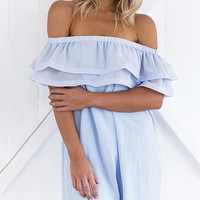 Blue Off Shoulder Double Layer Ruffle Chiffon Dress