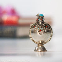 Oriental Perfume Bottle: Vintage Metal Perfume Bottle, Tiny Bottle, Silver Totem, Small Rose Water Bottle, Perfect Christmas Gift for Her