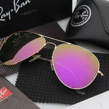 CREYGE2 Beauty Ticks Ray Ban Aviator Sunglasses Gold Frame Purple Flash Lens Mirrored Rb 3025