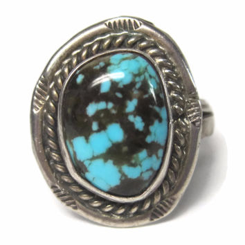 Classic Vintage Navajo Turquoise Ring Sterling Size 10