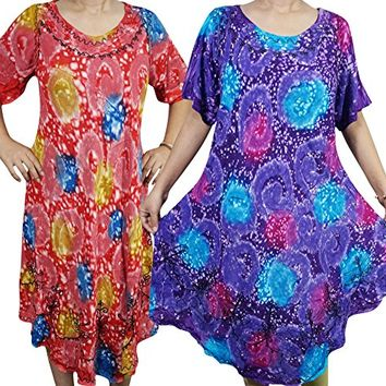2 Womens Oversized Tank Dress Colorful Beach Cover Up Summer Swing Caftan Dresses xxl