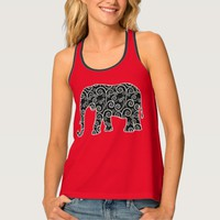 Black Swirl Design Elephant on Red Tank Top