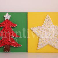 String Wall Art Set - Tree with star and Big Star Wall Decor