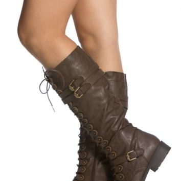 Brown Faux Leather Calf Length Lace Up Combat Boots @ Cicihot Boots Catalog:women's winter boots,leather thigh high boots,black platform knee high boots,over the knee boots,Go Go boots,cowgirl boots,gladiator boots,womens dress boots,skirt boots.