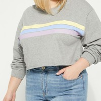 Plus Heather Gray Triple Striped Crop Top