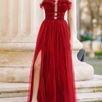 New Red Plain Ruffle Cut Out Draped Grenadine Party Maxi Dress
