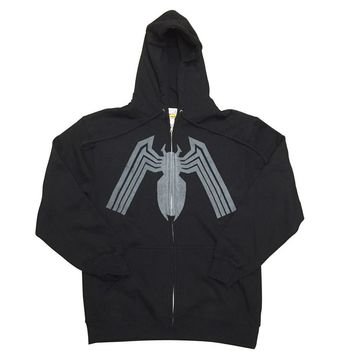 Spider-Man Venom Logo Marvel Premium Adult Zip Up Hoodie