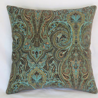 """Turquoise Paisley Pillow Cover, 17"""" Sq Heavy Chenille Tapestry, Dark Brown, Aqua Blue, Lime Green, Orange, Ready Ship"""