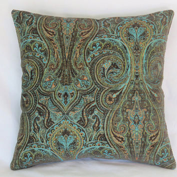 "Turquoise Paisley Pillow Cover, 17"" Sq Heavy Chenille Tapestry, Dark Brown, Aqua Blue, Lime Green, Orange, Ready Ship"