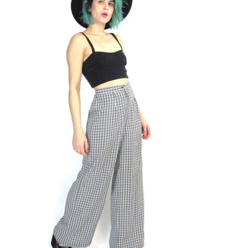 70s Plaid Wide Leg Pants Vintage High Waisted Trousers Checkered Palazzo Pants Fall Fashion Tailored Pants Bell Bottoms (XS)