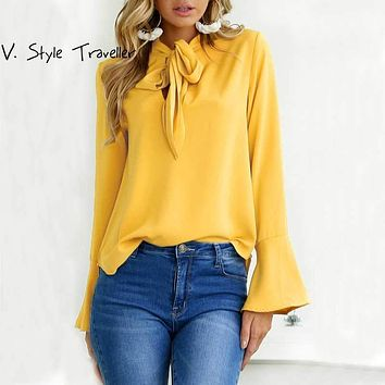 Ribbons Bow Tie Flare Long Sleeves Blouse Women Casual Cheap Clothes China Yellow Pink Black Female Boho Top Office Lady Shirt