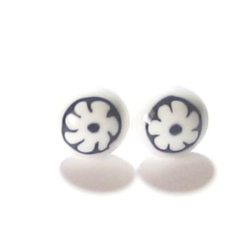 Murano Glass Black White Millefiori Flower Post Earrings, Stud