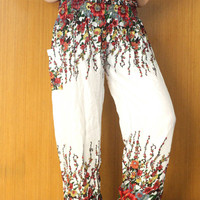White color Aladdin Pants/hippie clothes/beach pants/Yoga pants/Harem pants/Meditation pant/flower pants/boho pants/gypsy pants