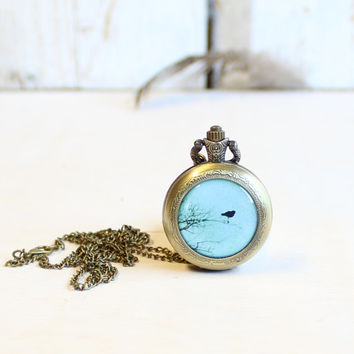 Pocket watch pendant vintage clock necklace blue bird locket