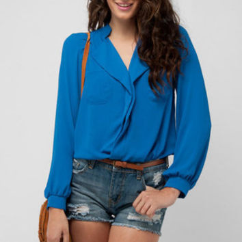 Lepel Pocket Blouse in Cerulean :: tobi