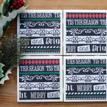 Christmas Coasters, Tile Coasters, Coasters, Coaster, Tile Coaster, Ceramic Coasters, Christmas Decor, Table Coasters, Coaster Set of 4