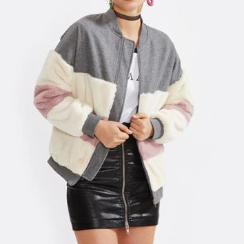 Faux Fur Splice Jacket
