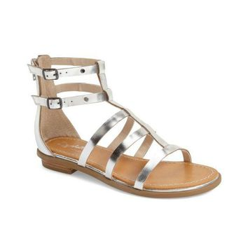 Seychelles Peachy Silver Metalic Leather Gladiator Sandal, Size 6