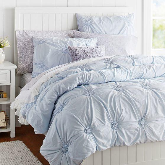 Ruched Rosette Quilt + Sham, Frost Blue From PBteen