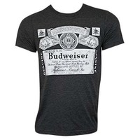 Budweiser Bottle Label Black Tee Shirt
