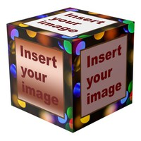 Multicolored Christmas lights. Add photos. Cube