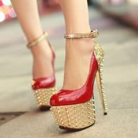 Women Rivets Platform Slim High Heel Shoes Bling Bling Patent Leather Pumps C67#