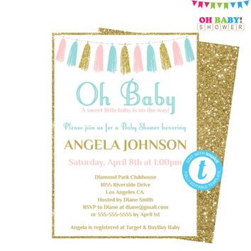 Pink Blue Gold Baby Shower, Baby Shower Invitation Template, Girl or Boy Baby Shower, Printable Invitation, Oh Baby Invite Tassels TASPBG