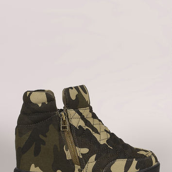 Quilted Camouflage Zipper High Top Wedge Sneaker