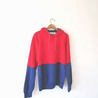 Vintage 80's MacGREGOR Red/Blue COLORBLOCK Striped Athletic Retro Cozy Hooded Sweatshirt Hoodie Sz Large