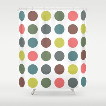 Retro Polka Dots Shower Curtain by ARTbyJWP