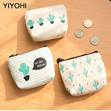 YIYOHI Canvas Simple Cactus Cute Style Beautiful Grils Zipper Plush Square Coin Bag Purse Kawaii Children Bag Women Mini Wallets