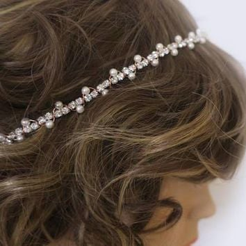 Rose Gold Bridal Headband | Hair Accessories for Bridesmaids | Pearl Rhinestone