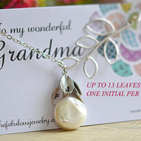 Grandmother gift necklace ,  coin pearl birthstone necklace  , 13 initial leaves ,leaf ,sterling silver ,grandma card