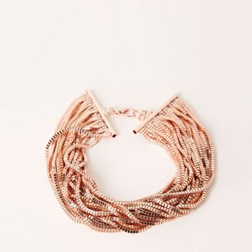 Missguided - layered multi chain choker necklace rose gold