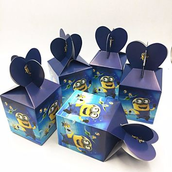6pcs/set Minions Party Supplies Paper Candy Box Cartoon Kids Birthday Decoration Baby Shower Boys Party Supplies Candy Boxes