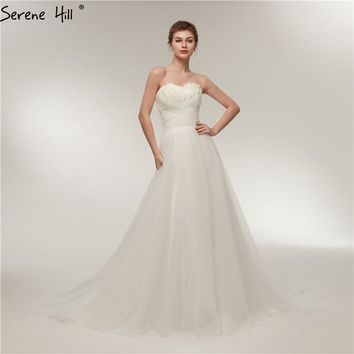 White Off Shoulder Sexy Fashion Wedding Dresses 2018 Newest Feathers Strapless Beach Bridal Gowns Serene Hill