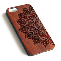 Mandala Pattern Natural wood iPhone case laser engraved iPhone 7 6 6S Plus case WA058