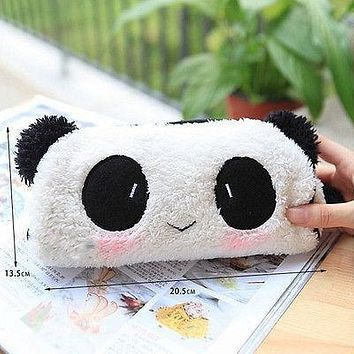 Women Girls Plush White Black Panda Cosmetic Makeup Bag Pouch Purse Zipper Pencil Pen Case