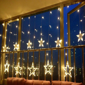 220V Christmas Halloween Lights Outdoor Led Curtain Star String Lights Christmas Halloween Decorations For Home Adorons 12PCS