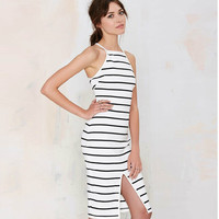 Summer Stripes Sexy Strapless Hollow Out Spaghetti Strap One Piece Dress [6046494209]