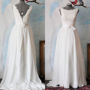 Custom Angie Wedding Dress Gown Made To Order Deep V Neck And Boat