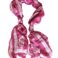 Handmade and Naturally Dyed Organic Scarf- Butterfly Raspberry