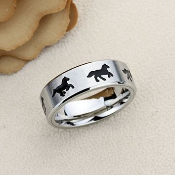 Custom Free Custom Engraving Personalized 8MM Stainless Steel Wedding Band Promise Ring Galloping Horse Band