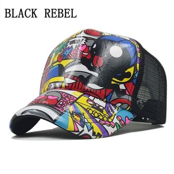 Trendy Winter Jacket Black Rebel  Summer Mesh Baseball Cap Parent-child cap Snapback Children Trucker Hat For Girl Boy Casual Casquette baby hats AT_92_12