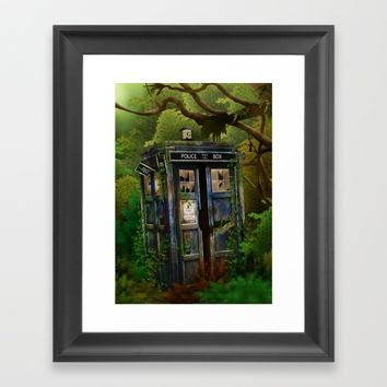 Abandoned Tardis doctor who in deep jungle iPhone 4 4s 5 5s 5c, ipod, ipad, pillow case and tshirt Framed Art Print by Three Second